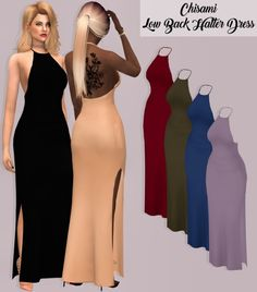 The Sims 4 Chisami Low Back Halter Dress Sims Four, Sims 4 Mm Cc, Sims 4 Game Mods, Sims 4 Mods, Pelo Sims, Sims 4 Dresses, Prom Dresses, Sims4 Clothes, Sims 4 Cc Packs