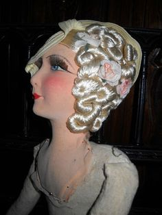 Beautiful French boudoir doll waiting to be dressed. Doll Head, Doll Face, Antique Dolls, Vintage Dolls, Half Dolls, Doll Costume, Vintage Outfits, Vintage Clothing, Dollhouse Dolls