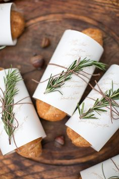 fresh loaves of rosemary bread with menus