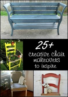 A roundup of 25 chair makeover ideas to inspire you. Paint, stain, upholstery and saws--all great ways to give that old chair a new look. Old Door Projects, Furniture Projects, Diy Furniture, Pallet Projects, Diy Projects, Furniture Design, Pallet Ideas, Antique Furniture, Modern Furniture