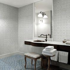 City Glamour  20x20cm white on white 60x60cm blue on white