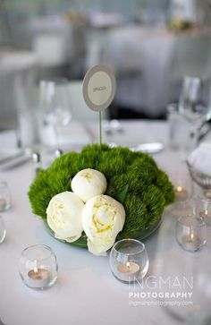 Claveles 'Green Trick' y peonías blancas :: 'Green Trick' carnations and white peonies by Flora Bella