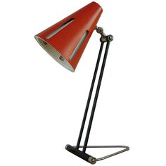 H.Th.J.A Busquet; Enameled Metal and Stainless Steel Table Lamp for Hala Zeist, 1955.