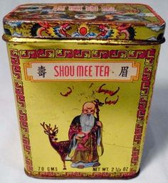 with artwork of man in traditional Chinese dress and Chinese lettering on lid Coffee Wine, Tea Tins, Chinese Tea, Vintage Tins, Aol Mail, Elderly Man, Tin Cans, Lettering, Traditional Chinese