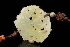 Vintage Chinese Carved Green Hardstone Amulet Jade Bead Tassel