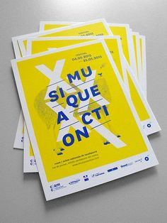 Bright yellow would look good on newsprint using CMYK printing process - layer with blue for contrast Web Design, Flyer Design, Layout Design, Graphic Design Posters, Graphic Design Illustration, Graphic Design Inspiration, Stationery Design, Brochure Design, Branding Design