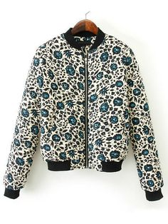 Vintage Blue Floral Long Sleeve Zipper Jacket