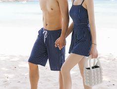 Comprar Tefiti Casal Matching listradas Swimsuit / Swim Shorts   YesStyle Swimsuit With Shorts, Striped Swimsuit, Swim Shorts, Honeymoon Outfits, Vacation Outfits, Couple Outfits, Cute Swimsuits, Matching Couples, Fashion Beauty