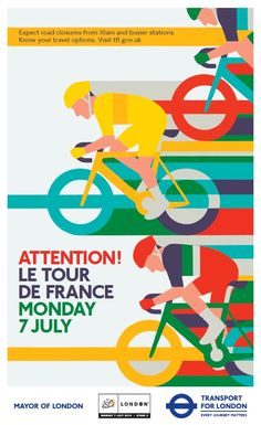 Tour de France 2014 side poster by Adrian Johnson for London Transport France Sport, Adrian Johnson, Vive Le Sport, Designers Gráficos, London Transport Museum, Bike Poster, Bicycle Art, Cycling Art, Art Graphique