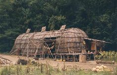 This longhouse style was utilized among many Northeastern tribes, including (but not limited to) the Lenape-Delaware, Mahican, and Iroquois.