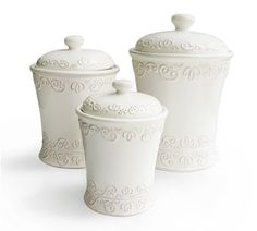 American Atelier 3 Piece Bianca Scroll White Canister Set 1567113CANRB by American Atelier