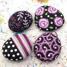 Photo from lisaeverettdesigns...Colorful and pretty designs painted on stone!!