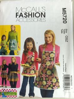 McCall's Sewing Pattern 5720 Mom Daughter Ladies Child Matching Aprons New #McCalls