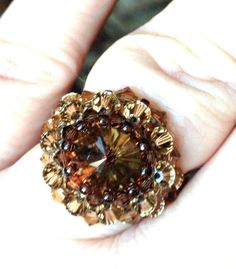 Swarovski Elements Crystal Beaded Ring by byAndredesigns on Etsy, $19.99