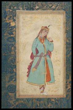 Young Woman With a Cup Persian, Safavid Period, 1702 Probably painted by Mu'in Musavvir, Persian, 1617–1701 Iran DIMENSIONS H x W: 18.2 x 9.9 cm (7 3/16 x 3 7/8 in.) MEDIUM OR TECHNIQUE Ink, gold and watercolor on paper  http://www.mfa.org/collections/object/young-woman-with-a-cup-8870