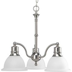 Progress Lighting Madison 22-In 3-Light Brushed Nickel Etched Glass Shaded Chandelier P4280-09