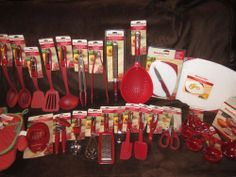 KitchenAid EMPIRE RED 39pc set pizza cutter Can opener spoon turner utensils NEW
