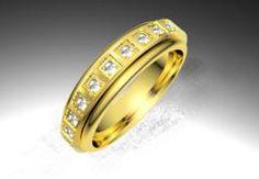 Alianza de oro amarillo de 18K modelo Giratoria plana - 25 diamantes Alianzas de oro - acabado mate seda  #alianzas, #anillosdeboda, #boda, #novias www.cnavarro.com