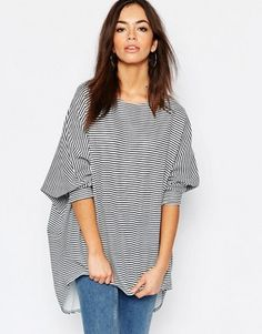 Daisy Street Oversized Striped Pull On Top