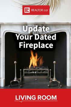 Spend more winter nights warm and cozy by the fire–update your dated indoor fireplace with home improvement advice on REALTOR.ca Living Room. #IndoorFireplace #HomeImprovement #FireplaceRemodel #DIY