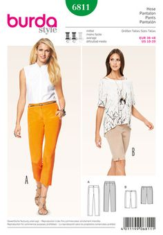 Schnittmuster: 7/8 Hose – Bermudas – ohne Seitennaht - Hosen - Damen - burda style