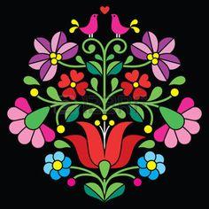 Kalocsai hímzés - magyar népi virágos mintás fekete photo