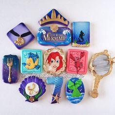 Mandys Sweets - Little mermaid inspired cookies for Leah's Little Mermaid Decorations, Little Mermaid Cakes, Little Mermaid Birthday, Little Mermaid Parties, Disney Little Mermaids, The Little Mermaid, Summer Cookies, Cookies For Kids, Cute Cookies