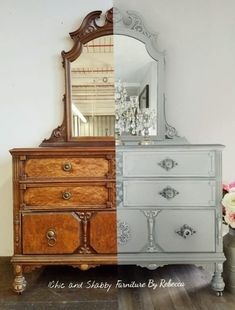 One of my favorite before and after makeovers. This vintage dresser needed to be sanded down to bare wood and a lot of dents and dings to fill. Vintage with a modern twist. :) . . . #chicandshabbyfurniturebyrebecca #gray #metallic #chicandshabbyknobs #glass #dresser #vintage #silver #mirror
