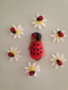 Fondant baby/ edible/ baby shower/ party favors/ cake topper/ cupcake topper/ ladybug baby on Etsy, $16.00