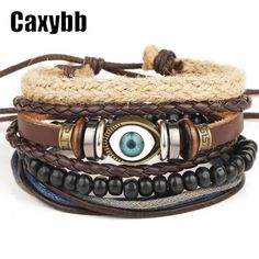 Ethnic Black Adjustable Leather Bracelet Evil Eye Feather Charm (Size: 1)