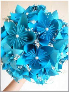 Blue origami flower bouquet