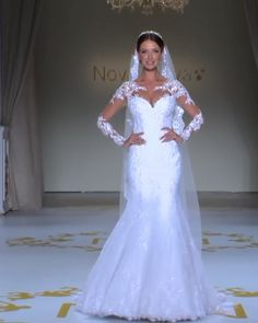 """Nova Noiva """"Nadine"""" Gorgeous Embroidered Lace Sweetheart Trumpet Wedding Dress / Bridal Gown with Long Sleeves, Open Back and a Train. Collection """"Poème"""" Runaway by Nova Noiva - Boho Wedding Fancy Wedding Dresses, Informal Wedding Dresses, Stunning Wedding Dresses, Wedding Dress Styles, Beautiful Gowns, Bridal Dresses, Wedding Gowns, Lace Wedding, Reception Dresses"""