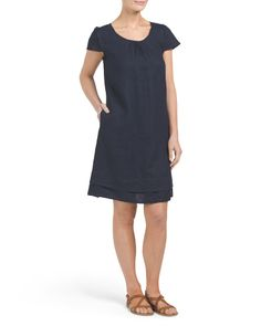 95941ae569d Linen Shirred Embroidered Hem Dress - Dresses - T.J.Maxx