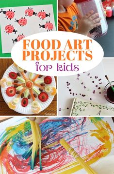 Paint, stamp, and create with your food! Fun art projects for kids that use food as a medium, inspired by Cloudy with a Chance of Meatballs.