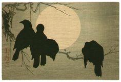 "jibadojo: "" Crows and the Moon - Original painting by Korin in Edo period. """