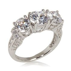 Shop Victoria Wieck 4.1ct Absolute™ 3-Stone Round and Baguette Ring, read customer reviews and more at HSN.com.