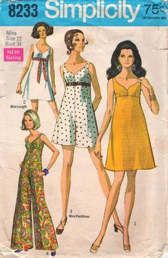 1960s Simplicity 8233 Misses Bra Dress Bra Jumpsuit Mini Maxi womens vintage sewing pattern by mbchills