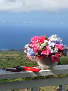 Flower arranging outdoors. Ulupalakua, Maui