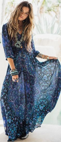 Blue Print Maxi Dress                                                                             Source