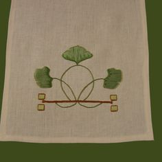 Craftsman Style Textiles, Hand Embroidery, Ginkgo Table Runner Close Up