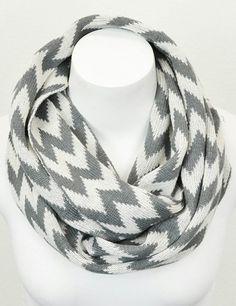 Gray & White Zigzag Infinity Scarf