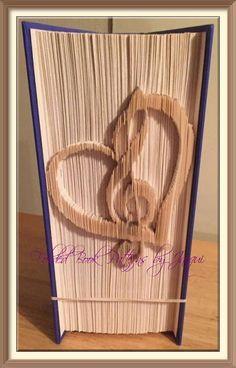 Musical Clef Heart. Book Folding patterns by JHBookFoldPatterns on Etsy
