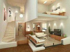 15 Amazing Interior Design Ideas for Modern Loft www.futuristarchi… 15 Amazing Interior Design Ideas for Modern Loft www. Loft Design, Tiny House Design, Modern House Design, Design Case, Loft House, House Rooms, Studio Apartment Layout, Studio Layout, Design Apartment
