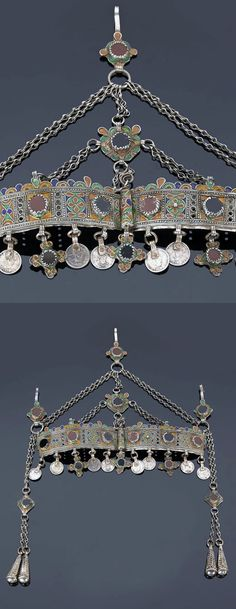 Morocco - western Anti Atlas region | Diadem; silver, enamel and glass cabochons | Sold ~ (May '15)