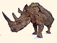 "2 meter White Rhino which was auctioned towards 'Saving the Rhino"" by Tony Fredriksson, openskywoodart.com"