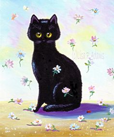 Black Cat Art Original Painting Daisies Flowers by creationarts, $49.00