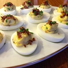 Epic truffled deviled eggs with bacon, truffle oil and chives. SO EASY! {a sugared life}