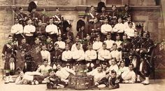 MILITARY ALBUMEN PHOTO CAMERON HIGHLANDERS PIPES & DRUMS SCOTLAND  PATRICK 1880S