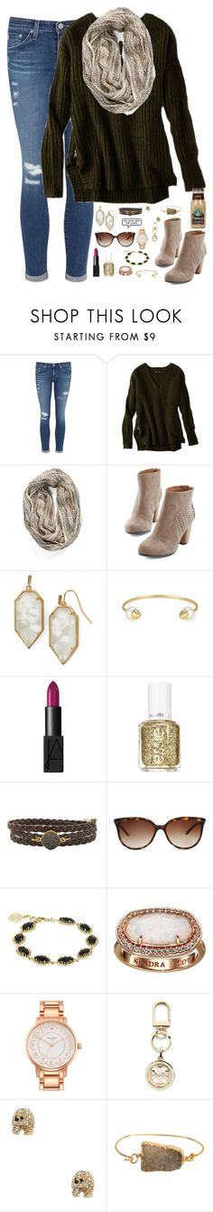 """""""I hate the feeling when you have to say goodbye to the person you want to spend every minute with...."""" by kaley-ii ❤ liked on Polyvore featuring AG Adriano Goldschmied, American Eagle Outfitters, Collection XIIX, Kendra Scott, Stella & Dot, NARS Cosmetics, Essie, Alexandra Beth Designs, Tiffany & Co. and Kate Spade"""