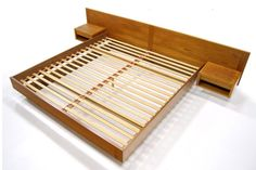 Bedroom. light brown varnished oak wood low platform bed wit rectangular headboard. Amazing Mid Century Modern Bed Frame Ideas